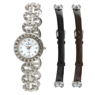 Peugeot Women's Silvertone Marcasite Interchangeable Strap Watch