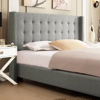 INSPIRE Q Marion Grey Linen Nailhead Wingback Platform Bed