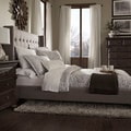 Tribecca Home Francesca Grey Linen Wingback Nailhead Modern Bed
