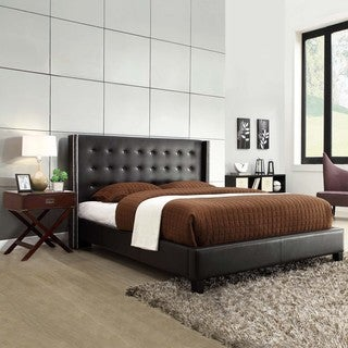 INSPIRE Q Marion Black Bonded Leather Nailhead Wingback Platform Bed