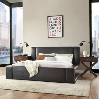 Anabella Queen/ Full Black Bonded Leather 'S' Shape Upholstered Modern Bed