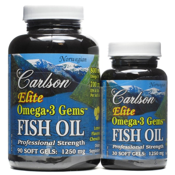 Carlson Elite Omega-3 Gems Fish Oil 1250 mg (90 + 30 Softgels)