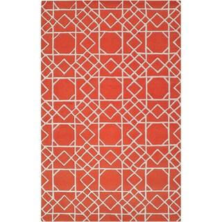 Hand-tufted Oilton Geometric Trellis Wool Rug (8' x 11')