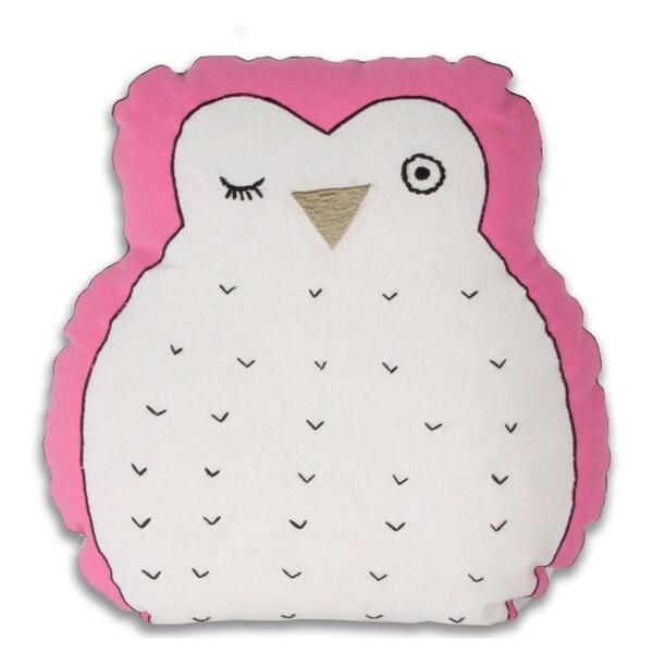 Marlo Lorenz Hoot Owl-shaped Pink Decorative Pillow