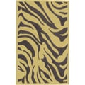 Hand-tufted Brown/Yellow Zebra Animal Print Idabel New Zealand Wool (8' x 11')