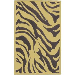 Hand-tufted Brown/Yellow Zebra Animal Print Idabel New Zealand Wool (2' x 3')