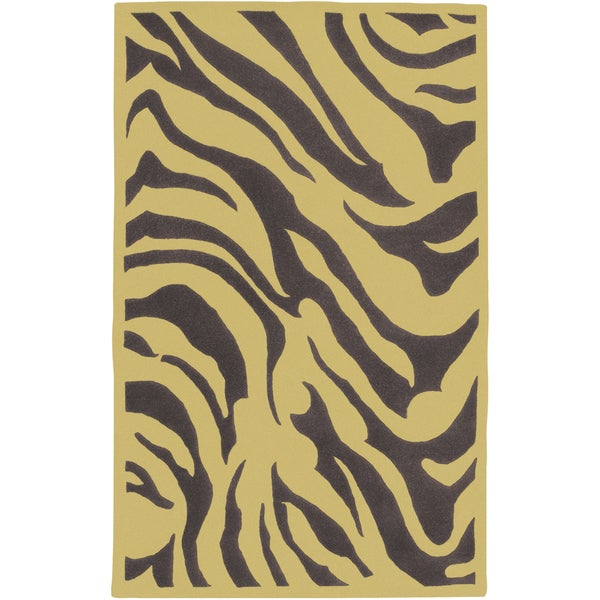 Hand-tufted Brown/Yellow Zebra Animal Print Idabel New Zealand Wool (2' x 3')