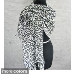 Animal Print Scarf/ Shawl with Fringe