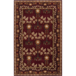 Hand-tufted Burgundy Traditional Bordered Antakya Wool Rug (8' x 11')