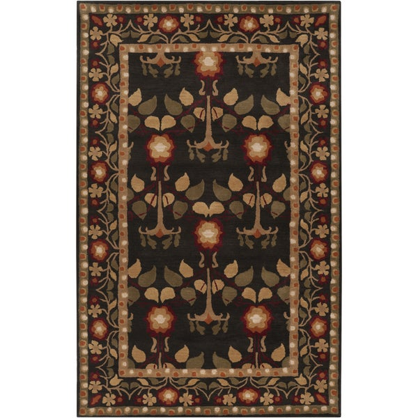 Hand-tufted Black Traditional Bordered Kirikale Maroon Wool Rug (8' x 11')