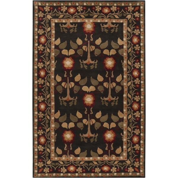 Hand-tufted Black Traditional Bordered Kirikale Maroon Wool Rug (3'3 x 5'3)
