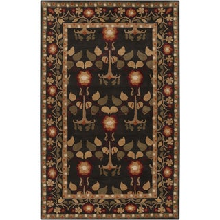 Hand-tufted Black Traditional Bordered Kirikale Maroon Wool Rug (2' x 3')