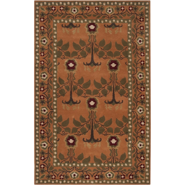 Hand-tufted Orange Traditional Bordered Adiyaman Wool Rug (8' x 11')