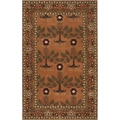 Hand-tufted Orange Traditional Bordered Adiyaman Wool Rug (8&#39; x 11&#39;)