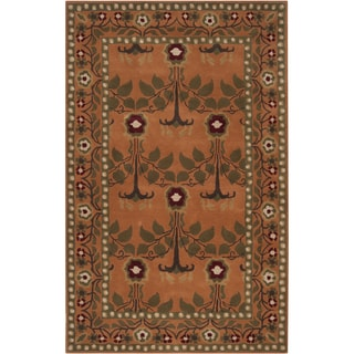 Hand-tufted Orange Traditional Bordered Adiyaman Wool Rug (5' x 8')