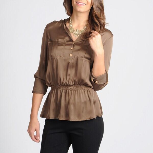 Grace Elements Women's Satin Coffee Utility Shirt