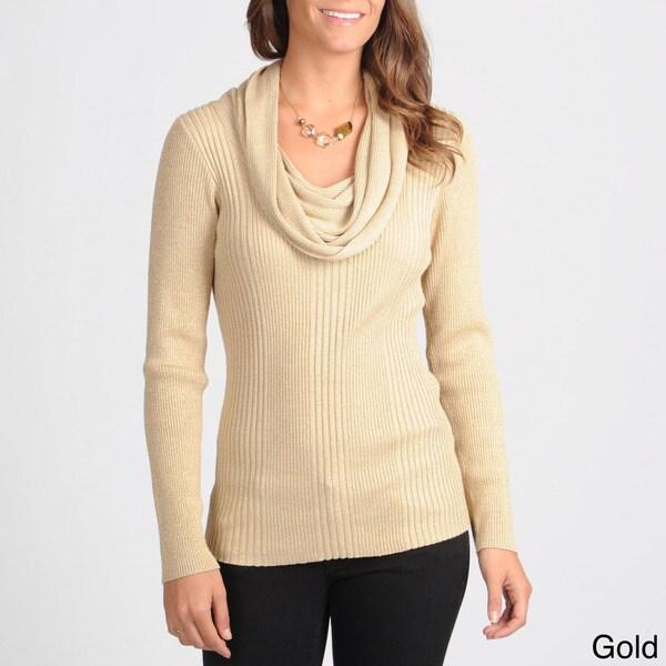 Focus 2000 Women's Metallic Blend Cowl Neck Sweater