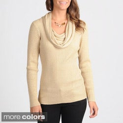 Focus 2000 Women's Metallic Blend Cowl Neck Sweater