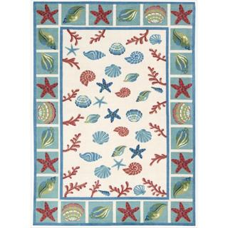 Shoreline Seashell and Starfish Ivory Polyester Rug (2'6 x 4')