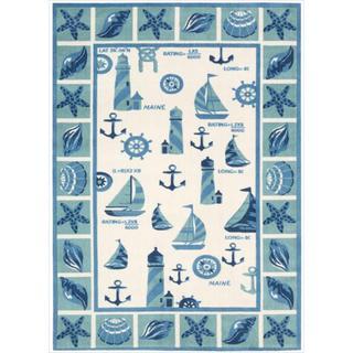Shoreline Lighthouse and Boat Ivory/ Blue Polyester Rug (2'6 x 4')
