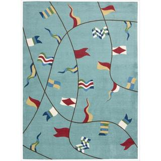 Shoreline Nautical Flag Aqua Polyester Rug (4' x 6')
