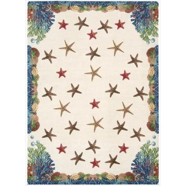 Shoreline Coral and Starfish Ivory Polyester Rug (4' x 6')