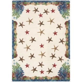 Shoreline Coral and Starfish Ivory Polyester Rug (5' x 7')