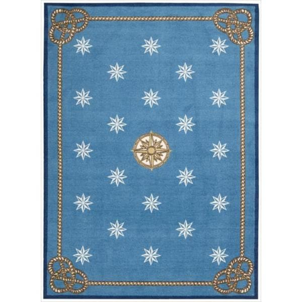 Shoreline Nautical Star Blue Polyester Rug 5 X 7