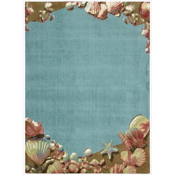 Shoreline Seashell Aqua Polyester Rug (8' x 10')