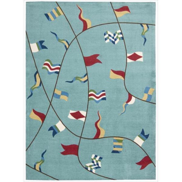 Shoreline Nautical Flag Aqua Polyester Rug (8' x 10')