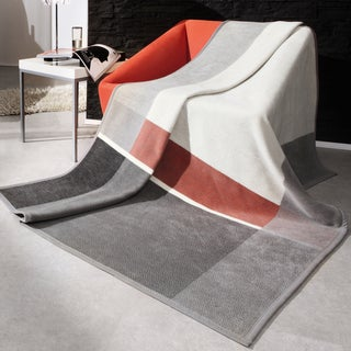 Bocasa Grey Check Woven Throw Blanket