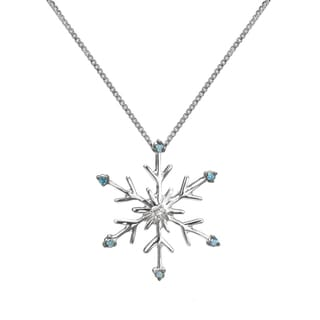Sterling Silver Blue and White Diamond Accent Snowflake Necklace