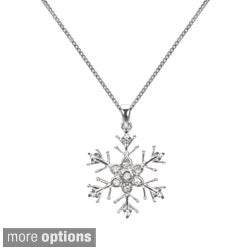 1/10ct TDW Blue or White Diamond Snowflake Necklace (H-I, I1-I2)