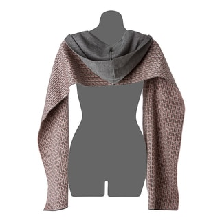 Fendi Grey Wool Zucchino Print Hooded Scarf