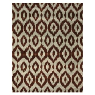Hand Tufted Wool Brown Ikat Rug (5' x 8')
