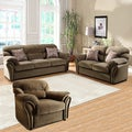 Evette Brown Microfiber Sofa 3-piece Set