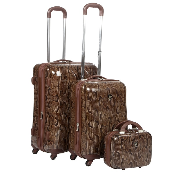 Heys USA Snake Print 3-piece Hardside Spinner Luggage Set