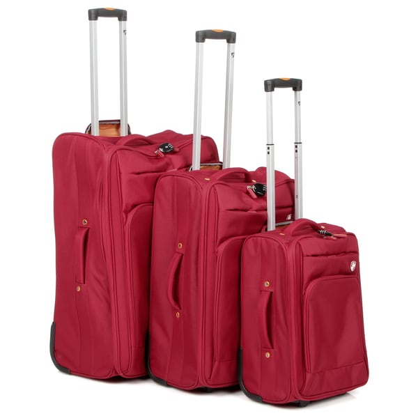 Heys USA Red Lite-glide 3-piece Luggage Set