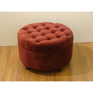 Button Tufted Velvet Berry Round Storage Ottoman
