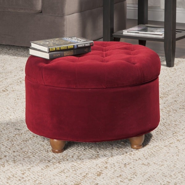 HomePop Button Tufted Velvet Berry Round Storage Ottoman