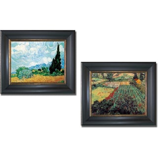 Vincent Van Gogh 'Poppies and Wheatfield with Cypress' Framed 2-piece Canvas Art Set