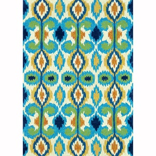 Indoor/ Outdoor Hand-hooked Portia Ivory/ Blue Rug (3'6 x 5'6)
