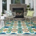 Indoor/ Outdoor Hand-hooked Portia Ivory/ Blue Rug (5' x 7'6)