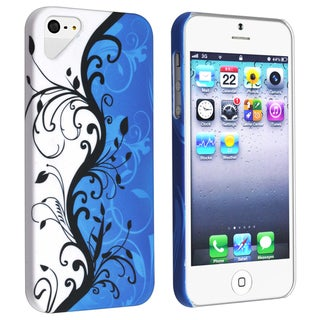 BasAcc White/ Blue Flower 70 Rubber Coated Case for Apple iPhone 5
