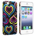 BasAcc Black/ Colorful Hearts Rubber Coated Case for Apple iPhone 5