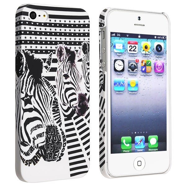 INSTEN White/ Black Zebra Head Rubber Coated Phone Case Cover for Apple iPhone 5/ 5S
