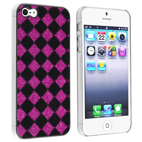 BasAcc Black/ Purple Checker Snap-on Case for Apple iPhone 5
