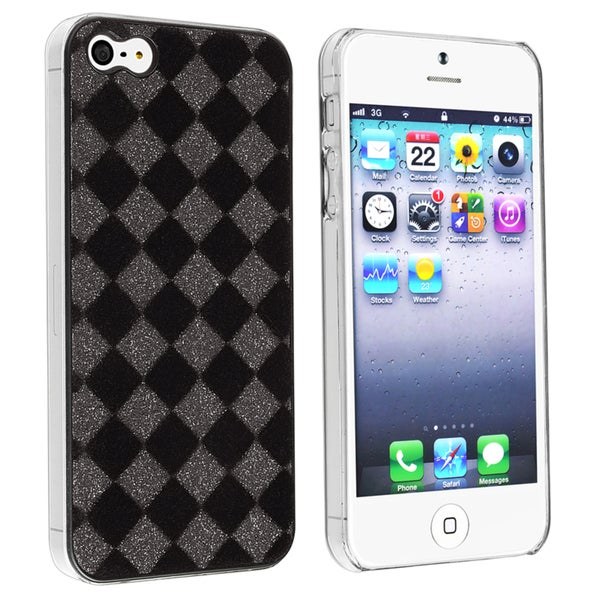 BasAcc Black/ Grey Checker Snap-on Case for Apple iPhone 5