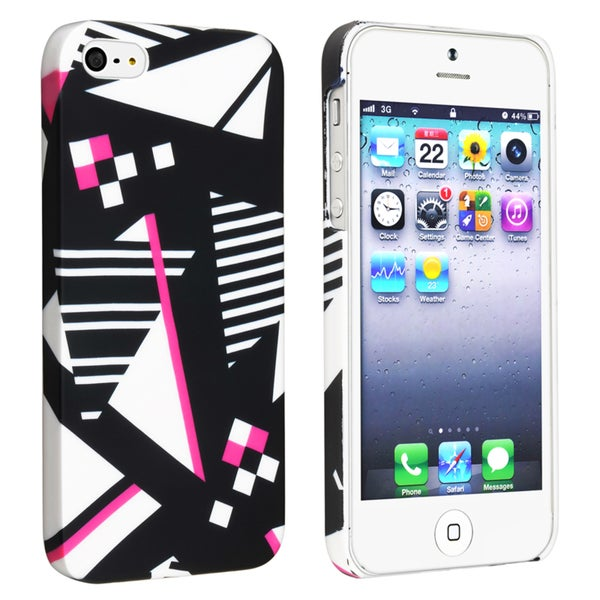INSTEN Geometric Rear Snap-on Rubber Coated Phone Case Cover for Apple iPhone 5/ 5S