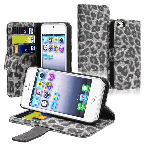 BasAcc Black/ Grey Leopard Leather Case with Stand for Apple® iPhone 5